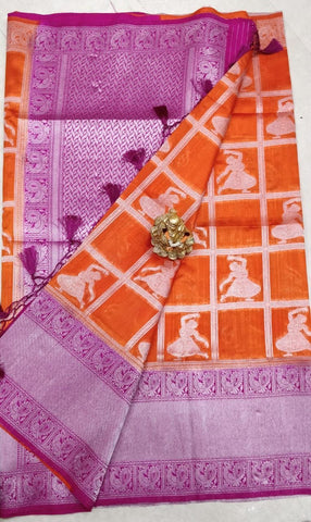 Purple Orange Dupion Silk Sarees