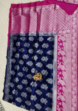 Blue Purple Dupion Silk Sarees