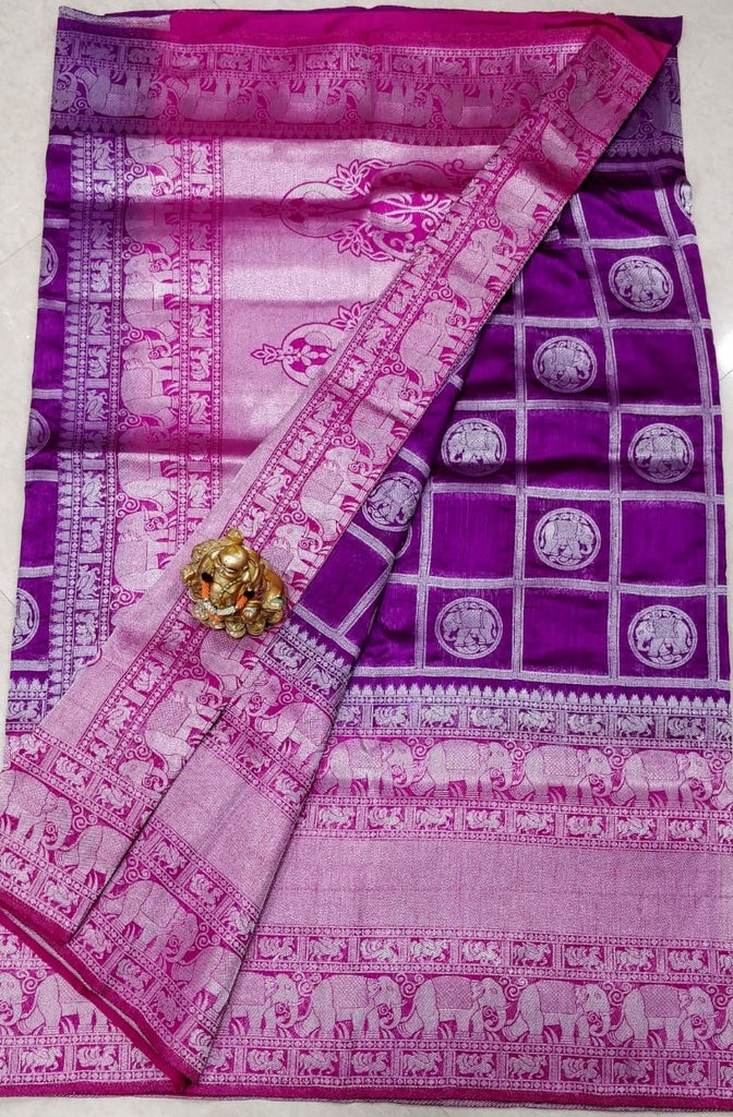 Purple Dupion Silk Sarees