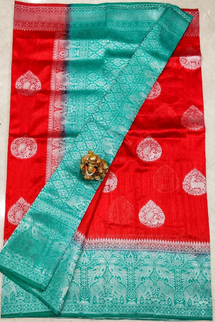 Red Green Dupion Silk Sarees