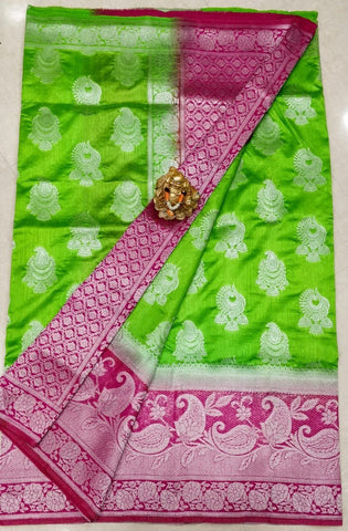 Green Purple Dupion Silk Sarees