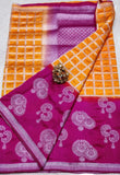 Yellow Purple Dupion Silk Sarees