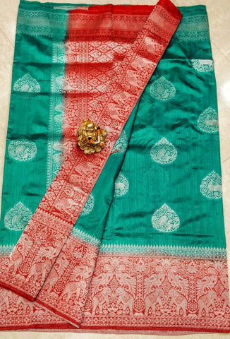 Green Red Dupion Silk Sarees