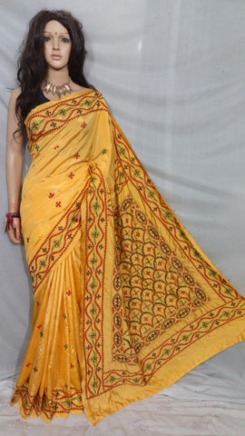 Yellow Dupion Silk Sarees