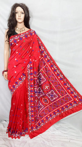 Red Dupion Silk Sarees