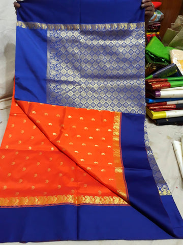 Blue Orange Garad Silk Sarees