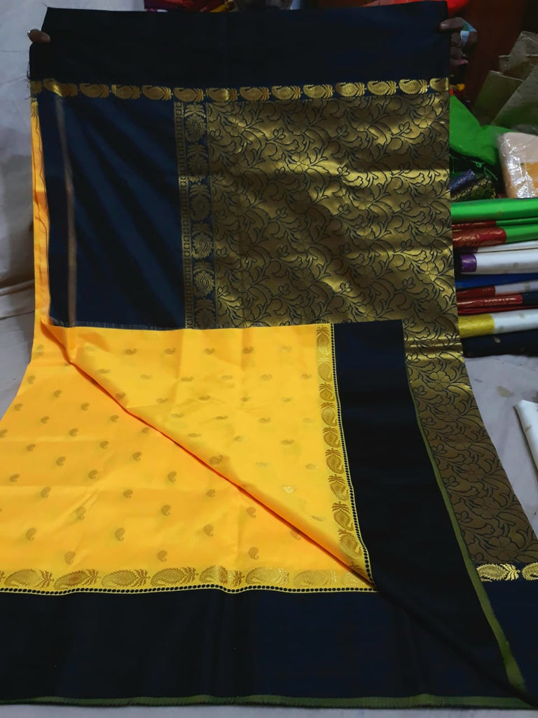 Black Yellow Garad Silk Sarees