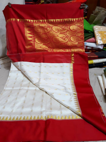 Red White Garad Silk Sarees