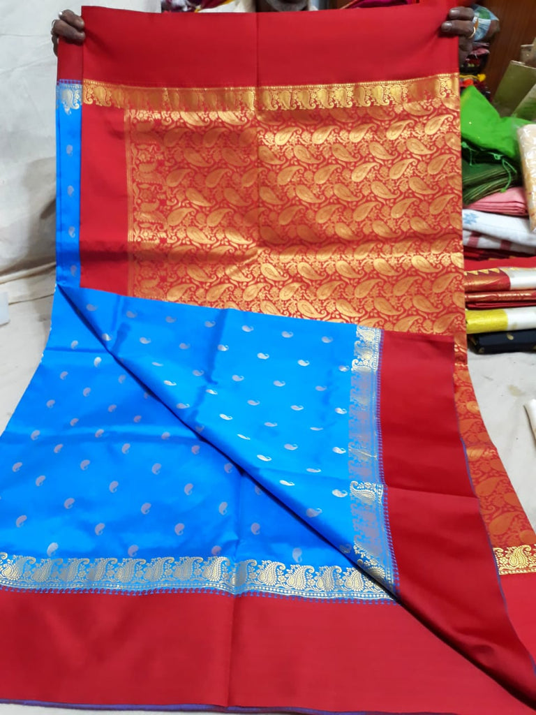 Red Blue Garad Silk Sarees