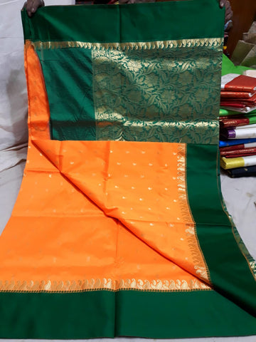 Green Orange Garad Silk Sarees