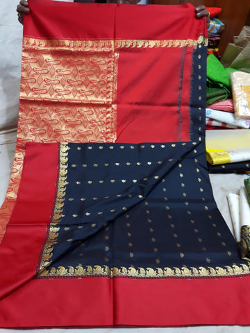 Red Black Garad Silk Sarees