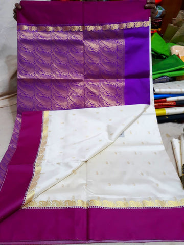 Purple White Garad Silk Sarees