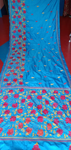 Black Blue Printed Art Silk Sarees