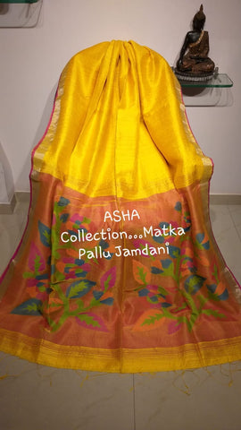 Yellow Matka Silk Sarees