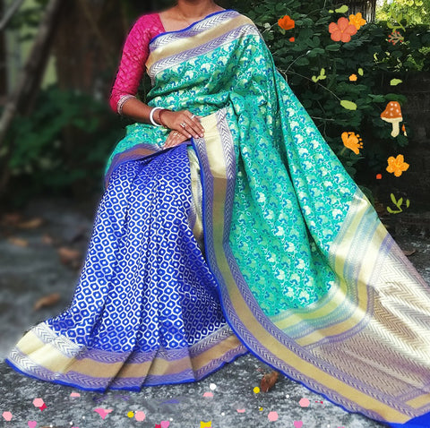 Green Blue Banarasi Silk Sarees