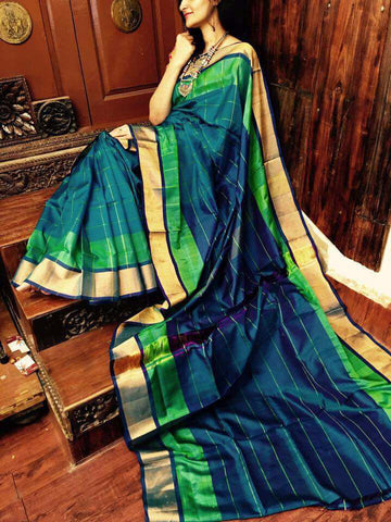 Green Blue Uppada  Silk Sarees