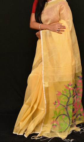 Orange Golden Dhakai Jamdani Sarees