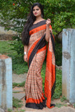 Beige Orange Chanderi Cotton Sarees