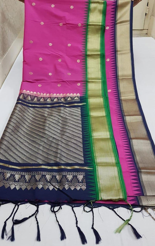 Purple Blue Kanchivaram Silk Sarees