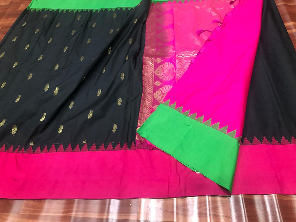 Black Purple Kanchivaram Silk Sarees