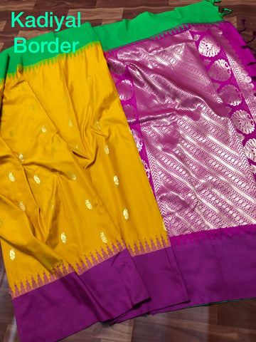 Yellow Purple Kanchivaram Silk Sarees