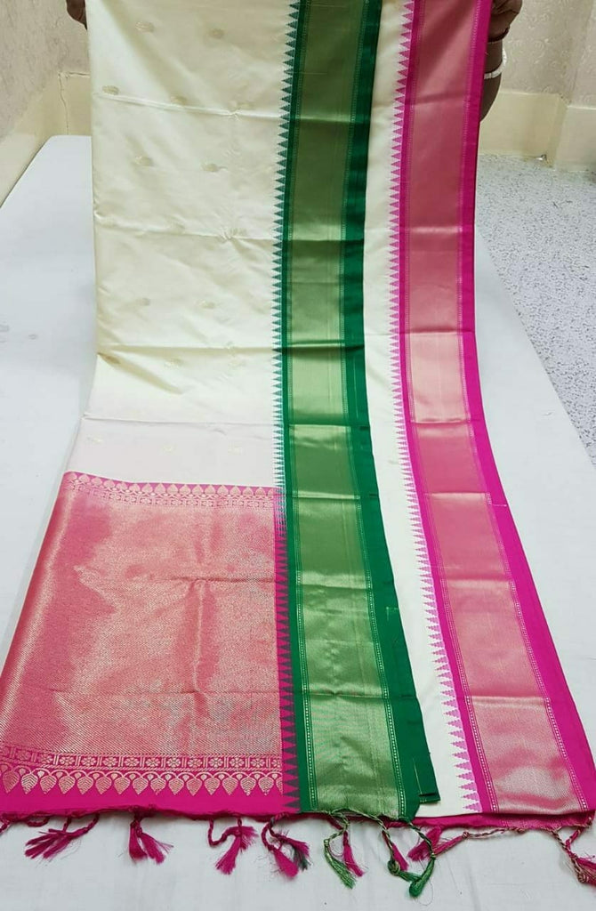 White Purple Kanchivaram Silk Sarees