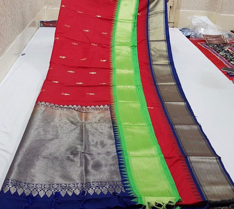 Red Blue Kanchivaram Silk Sarees