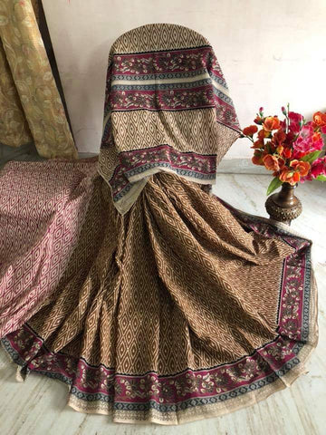 Brown Kalamkari Sarees