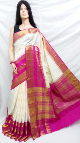 Purple Beige Kanchivaram Silk Sarees