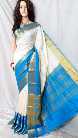 Blue Beige Kanchivaram Silk Sarees