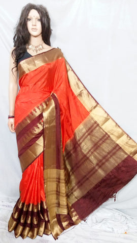 Orange Kanchivaram Silk Sarees