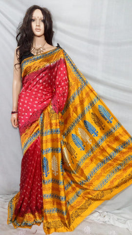 Beige & Red Mahapar Cotton Silk Sarees
