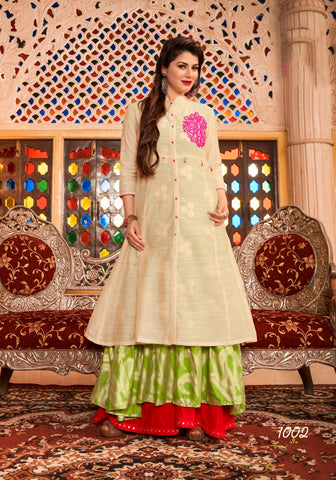Beige Green UnStitched Chanderi Cotton Salwar