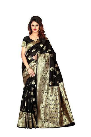 Yellow Blue White Printed Art Silk Sarees
