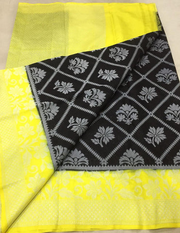 Black Yellow Dupion Silk Sarees