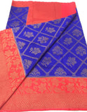 Blue Red Dupion Silk Sarees
