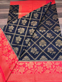 Black Red Dupion Silk Sarees