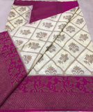 White Purple Dupion Silk Sarees