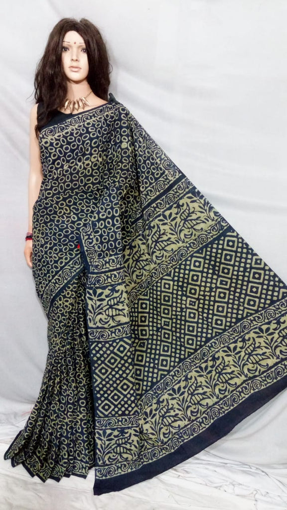 Black Bagru Printed Cotton Sarees