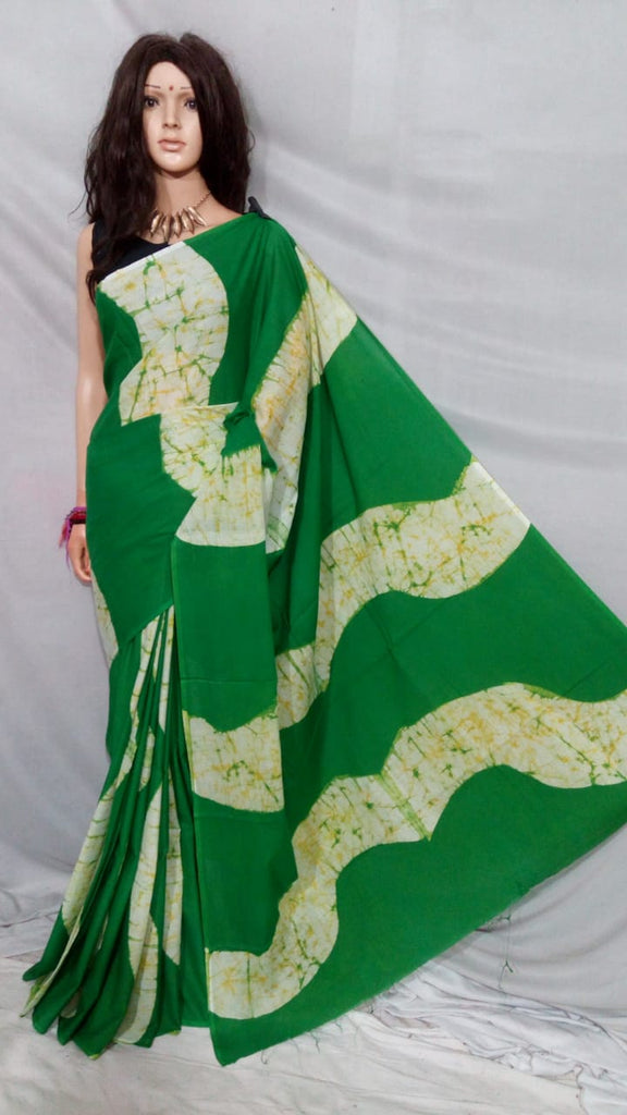 Green Bagru Printed Cotton Sarees