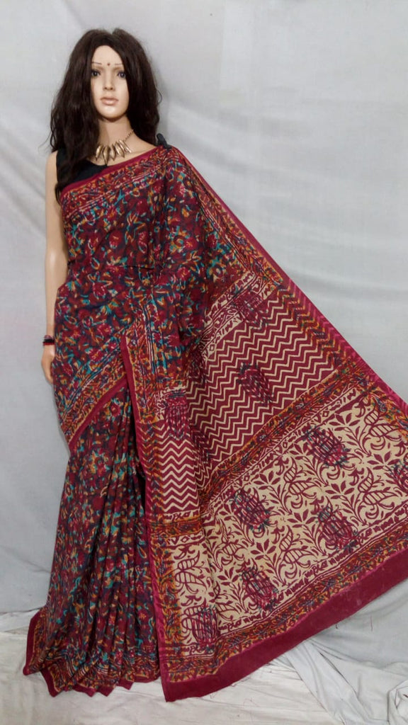 Brown Bagru Printed Cotton Sarees