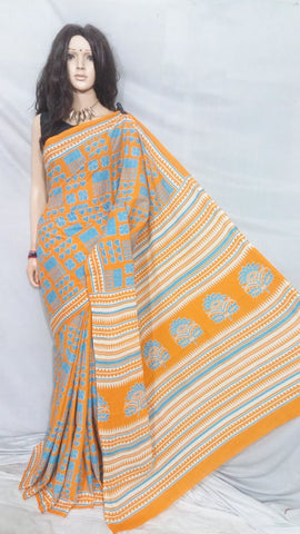Yellow Bagru Printed Cotton Sarees
