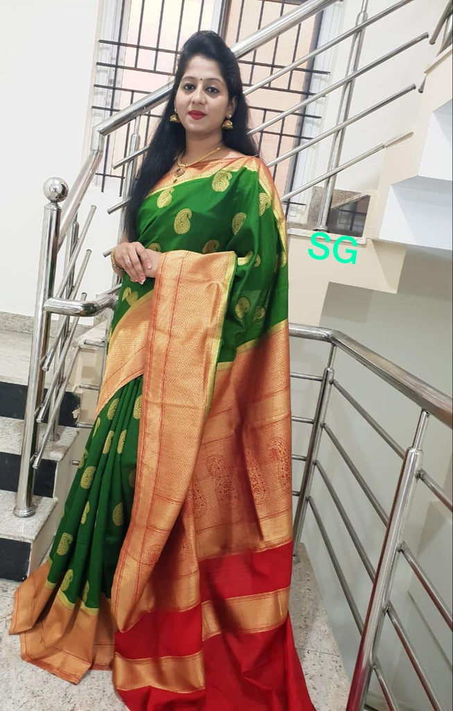 Green Red Banarasi Silk Sarees