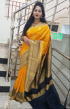 Yellow Black Banarasi Silk Sarees