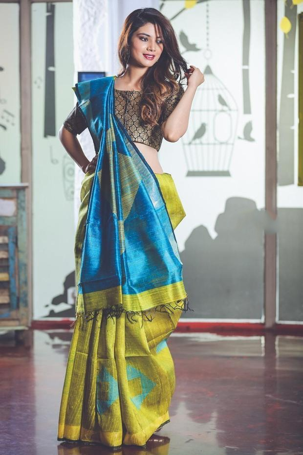 Yellow Blue Handwoven Dupion Silk Sarees