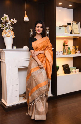 Orange Handwoven Dupion Silk Sarees