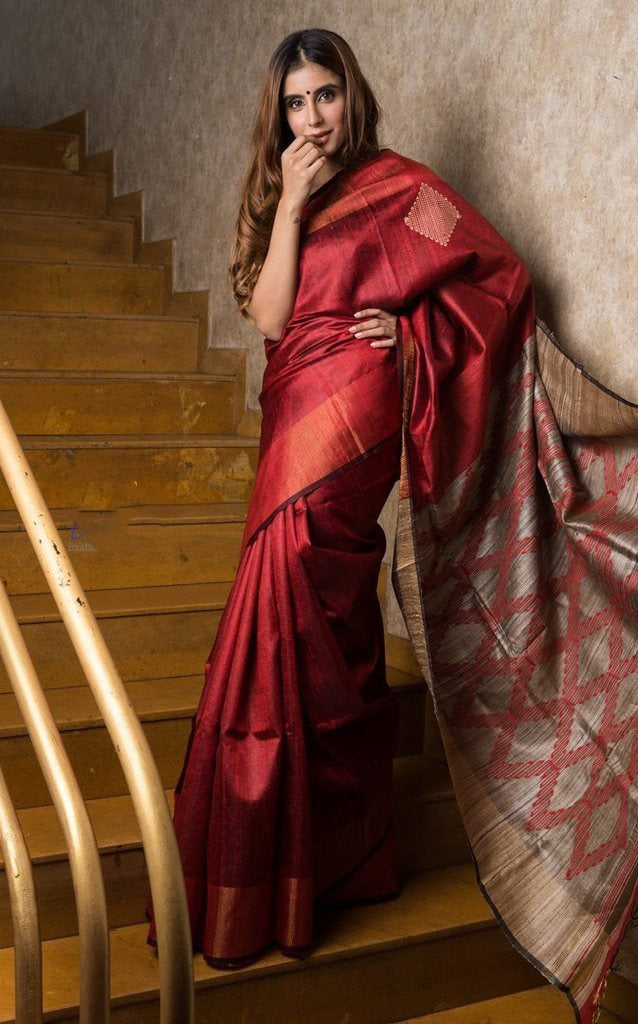 Red Handwoven Dupion Silk Sarees