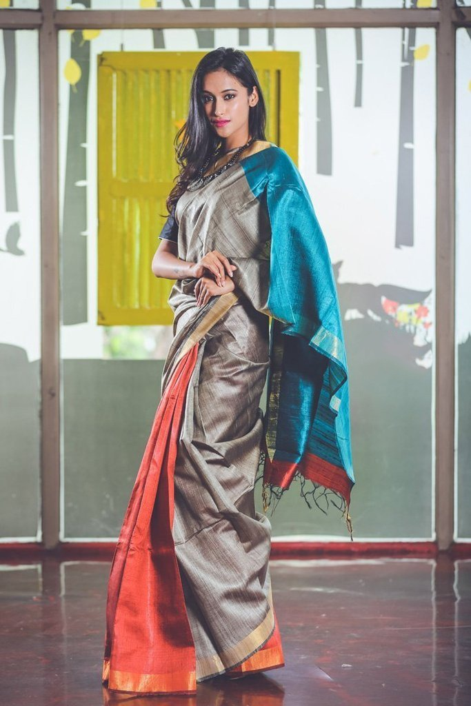 Grey Blue Handwoven Dupion Silk Sarees