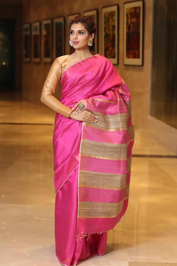 Purple Handwoven Dupion Silk Sarees