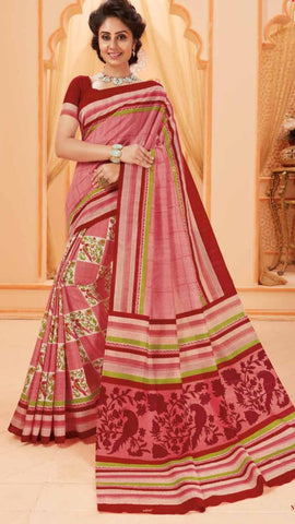 Red Bhagalpuri Silk Sarees